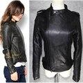 Черный овчины натуральной кожи куртка женщин короткие мотоцикл кожаная одежда весна женский Япония косой молния дизайн Куртка