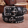 2016  men  steel punk young  boy  anchor rivet  top  full grain  genuine cow leather  belt