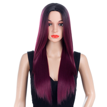 Aigemei Ombre Wig For Women Long Straight Wigs Synthetic Heat Resistant 26 inch Middle Part None Lace