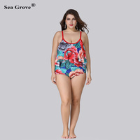 Large Size Swimsuits 2017 Bikini Plus Size Push Up Printed Sexy One Piece Swimsuit Bathing Beach