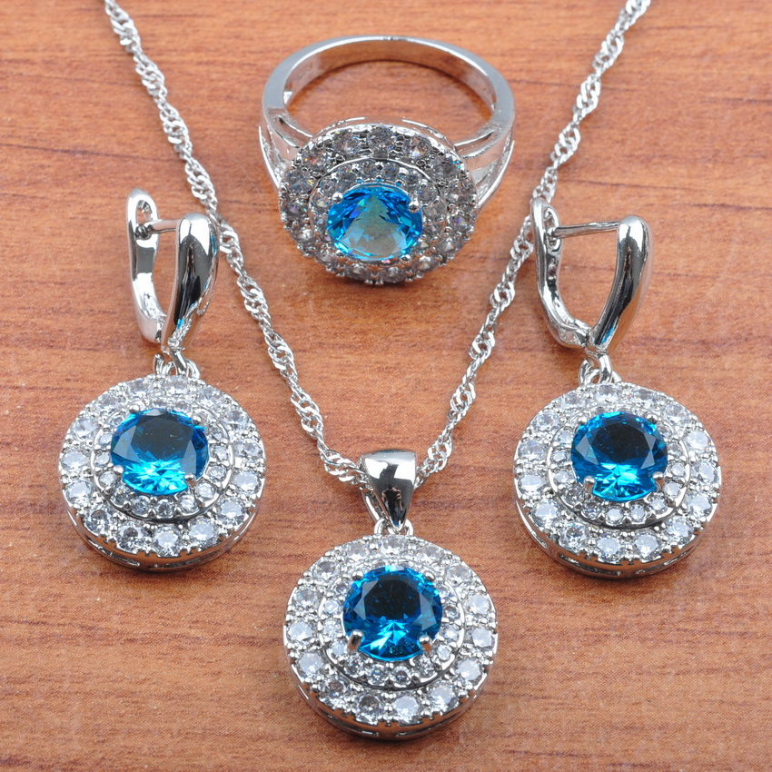 AAA+ Quality Sky Blue Round Crystal Silver 925 Jewelry Set For Women Bridal jewelry Earrings Necklace Pendant Ring Sets JS0268