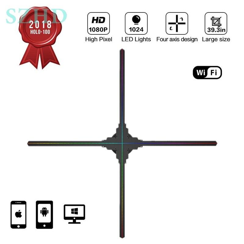 Dseelab Original diamètre 100 cm wifi app nuage contrôle gestuel 3d hologramme ventilateur LED affichage publicitaire sans couverture