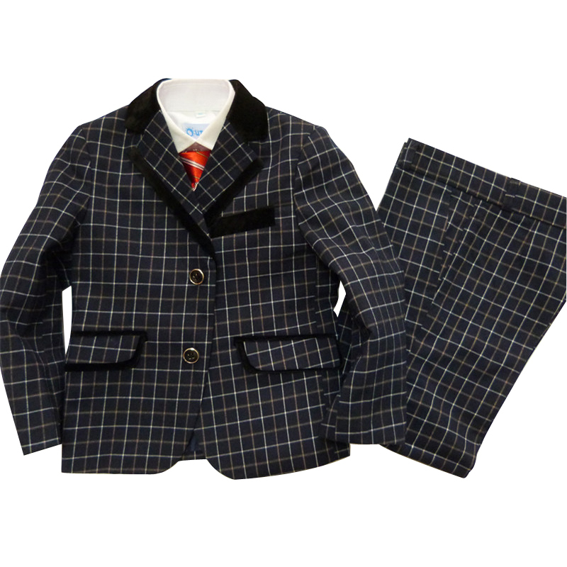 3 piece Blazers jackets set Baby boys blazers suit Kids wedding suits Children tuxedo Boy Plaid blazer terno infantil - Super Costumes store