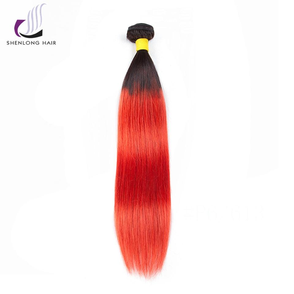 SHENLONG HAIR Ombr 8-24 tums brasilianskt Rak 100% Mänskligt Hår 1 - Mänskligt hår (svart)