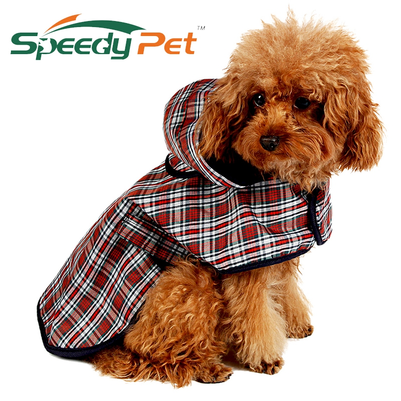 Pet Apparel Koer riided Koer Raincoat Pet Jacket Reflective Rain Pet veekindel mantel Plaid koer Poncho Teddy vihmamantel S / M / L / XL