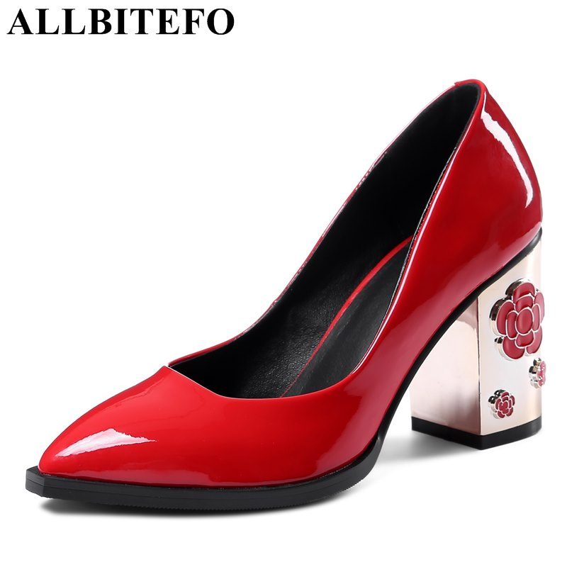 ALLBITEFO brand natural genuine leather pointed toe thick heel women pumps fashion sexy high heels flower