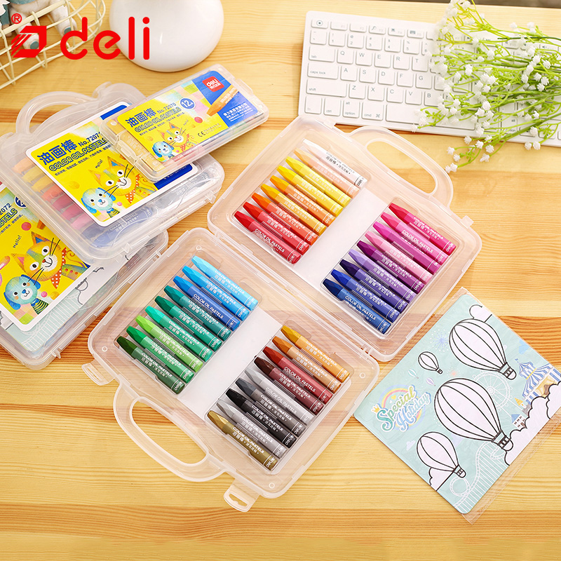 Deli 12/18/24/36 Colors/box Crayons Artist Drawing Pens For Kids Professional Wax Crayon Oil Pastel School Supplies Stationery