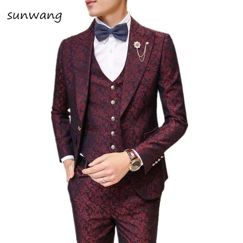 Wedding Gown For Men: 2017 Brand 3PCS Flower Wedding Dresses Royal Blue Suit For