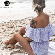 Lily Rosie Girl Blue Striped Off Shoulder Ruffles Playsuits Women Sexy Summer Beach Short Rompers Sashes Jumpsuits Overalls(China)