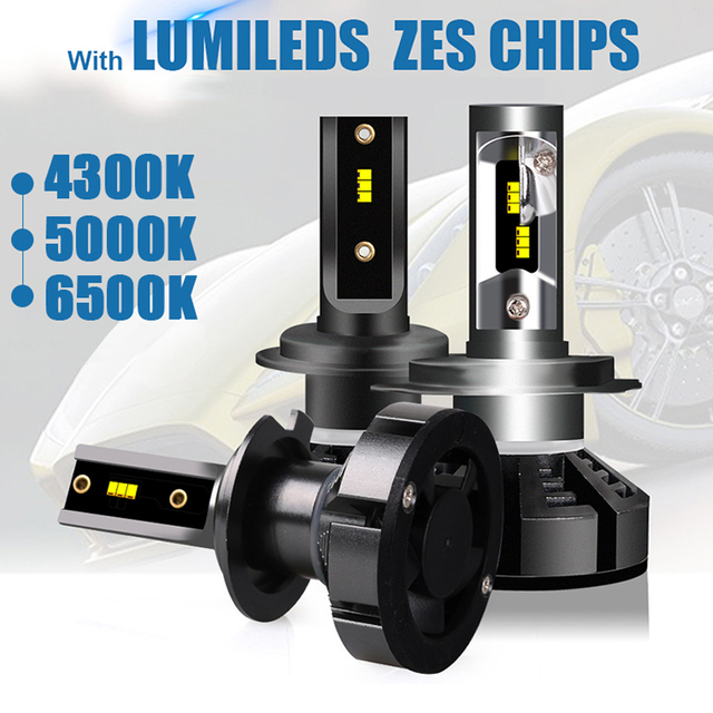 hlxg 2PCS Turbo Led H7 with LUMILEDS ZES Car Headlight Bulbs 4300k led 5000k 6500K h8 h11 9005 9006 H4 hi lo beam led fog light