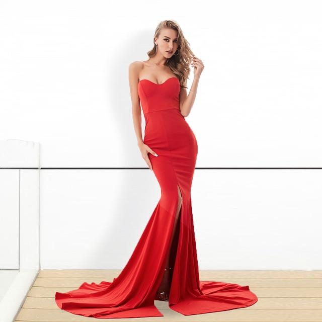 2019 сексуальное платье Русалочки без бретелек с длинным разрезом спереди облегающее красное черное Макси платье длиной до пола вечернее пла...
