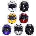 NUEVA 7 Colores DOT extraíble de Cascos de Moto de Carreras de Motocross Motocicleta de la Cara Llena Del Casco de Doble Visera Levante