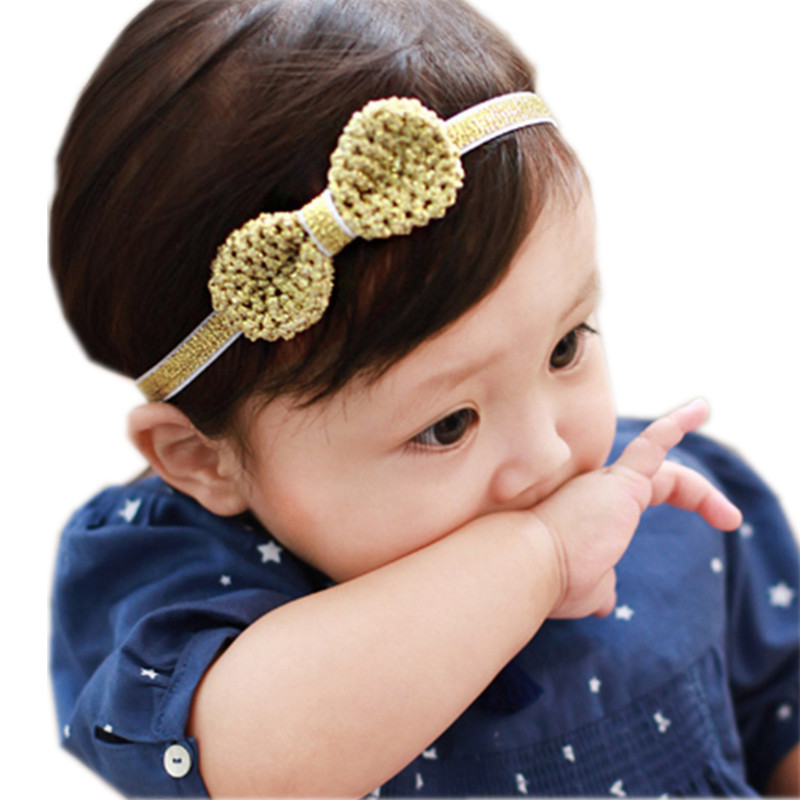 Baby Glitter Bow-knot Hairband Hair Accessories Silver Gold Headband Infant Girl Hair Band Childern Hair Clips