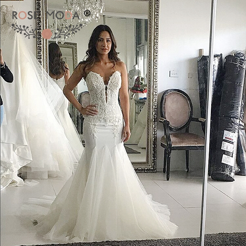 Rose Moda Y Deep Sweetheart Fit And Flare Wedding Dress Mermaid Fashion Gown Boho 2017 In Dresses From Weddings Events On
