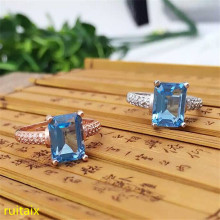 KJJEAXCMY fine jewelry 925 Sterling silver inlaid with blue topaz ring jewelry with silver gold color. tbj romantic small ring with natural good color blue tanzanite gemstone girl ring in 925 sterling silver fine jewelry for women
