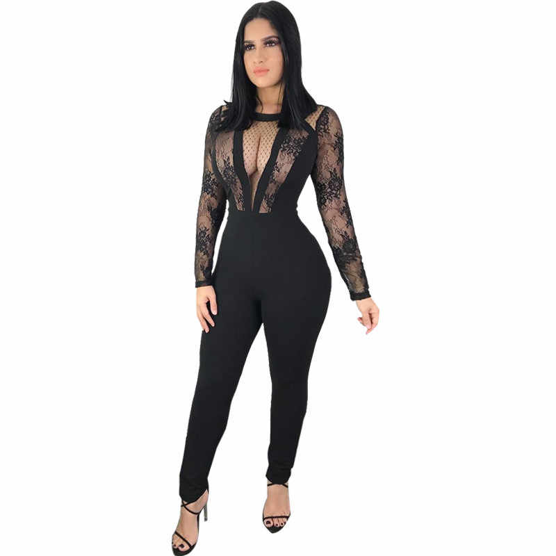 99e01190bec Sheer Mesh Patchwork Black Lace Jumpsuit Women Sexy Bodysuit See Through  Long Pants Overalls Bodycon Rompers