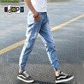 Cierre de Botón Dobladillo Harem Mens Ripped Jeans Hombres Tiro Caído Slim Fit Drawsrting Agujero Corredores de Mezclilla Azul Para Los Hombres