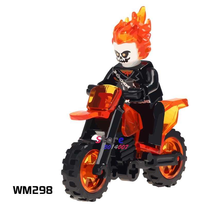 1 pçs modelo blocos de construção ação superheroes ghost rider com motocicleta coleção diy brinquedos para crianças presente
