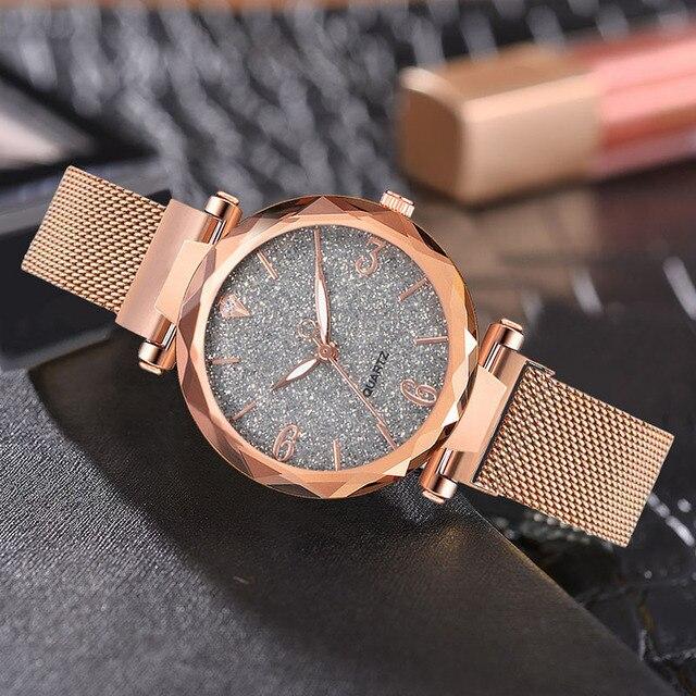 Rose Gold Women Watch 2019 Top Brand Luxury Magnetic Starry Sky Lady Wrist Watch Mesh Female Clock For Dropship relogio feminino 2