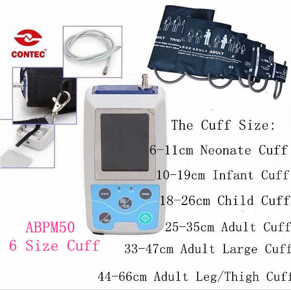 CE & FDA NIBP 모니터 24 시간 외래 BP 모니터 홀터 ABPM50 + 소프트웨어 + 6 크기 커프스