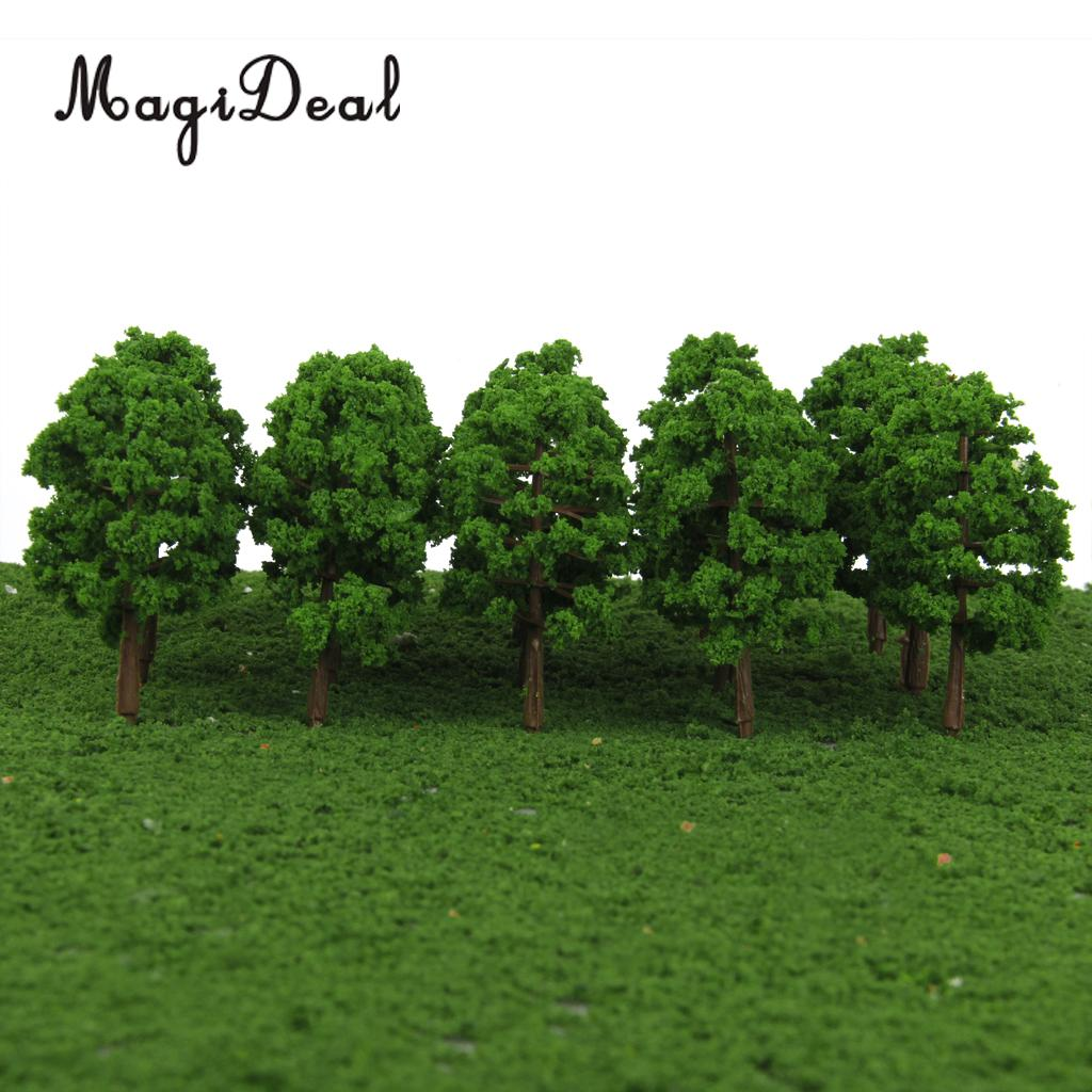 MagiDeal 20Pcs 1/150 Scale Plastic Model Trees Train Railroad Street Railway Scenery for Garden House Park Scene Layout Decor