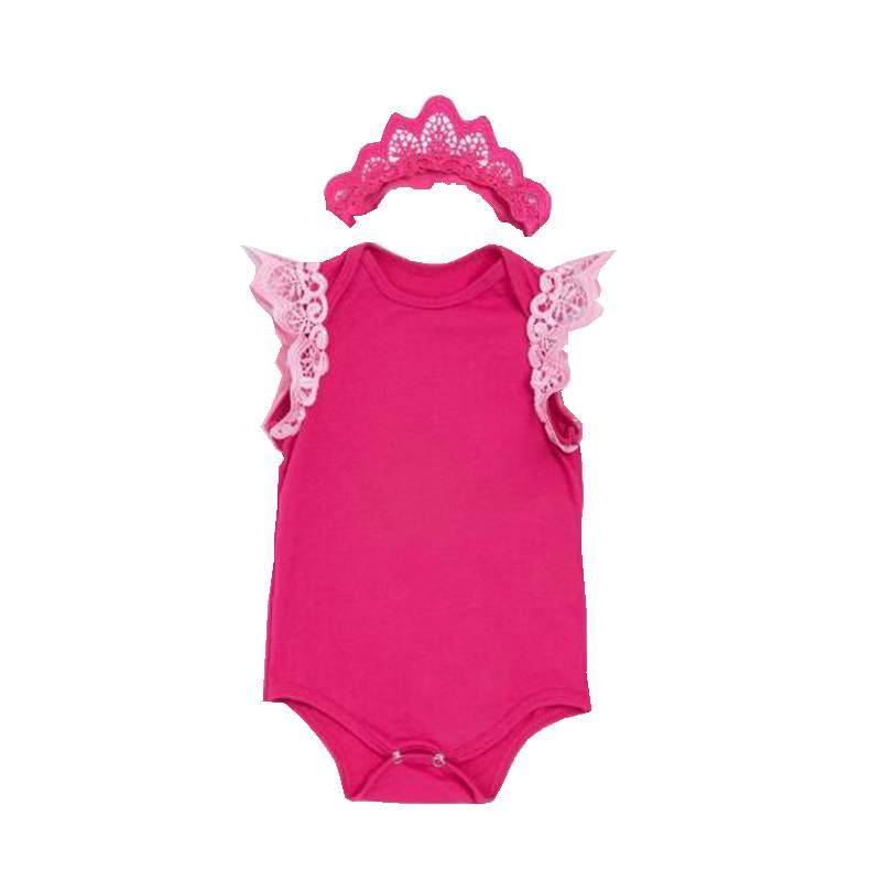 Flying Sleeve Lace Romper Cotton Baby Girl Jumpsuit + Crown Headband Set Body De Bebe Infant Girl Clothes Birthday Party Outfits