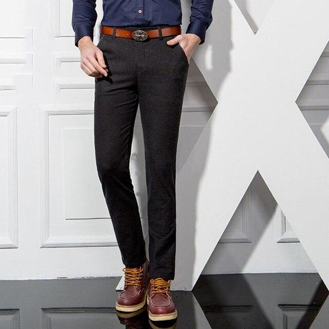 Fashion classic Hombres de negocios pantalones casuales de alta calidad de estilo Coreano ocasional delgado cremallera larga duración lápiz pantalones 5 colores Y53