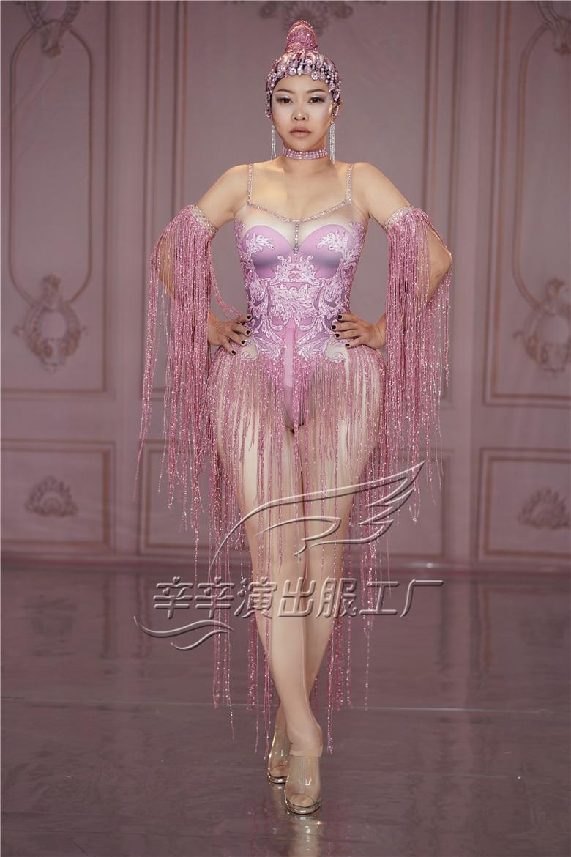 Женский сексуальный розовый комбинезон со стразами с кисточками певица леггинсы для танцев костюм большой облегающий Костюм Стретч ночной