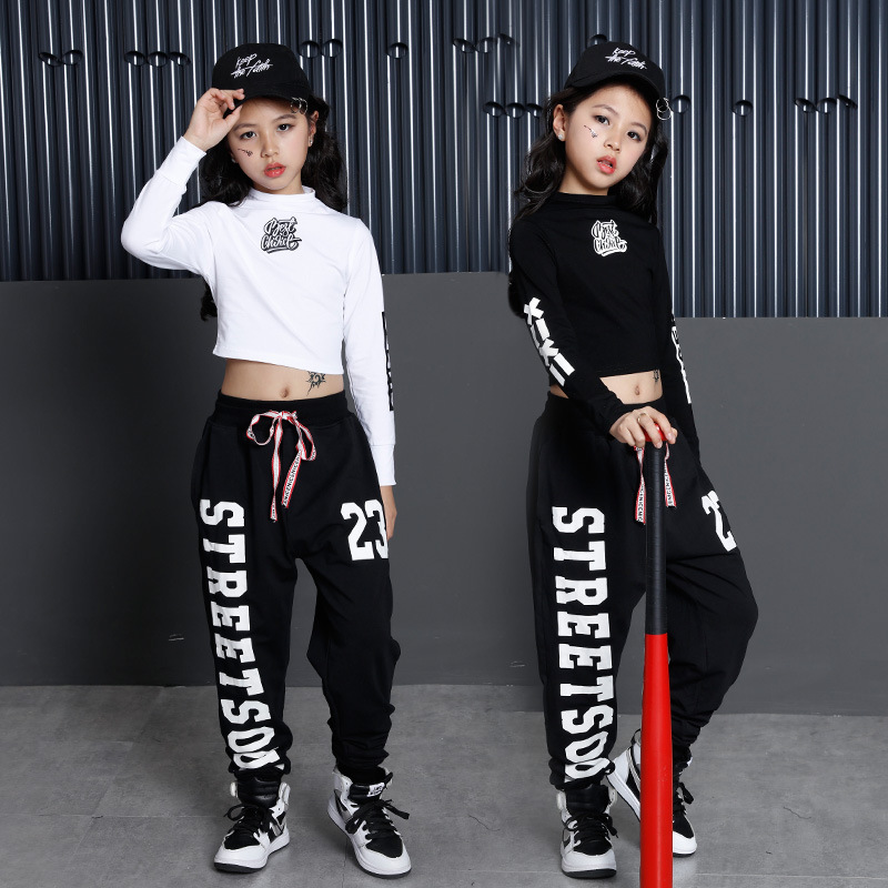 Girls Cool Cotton Ballroom Jazz Hip Hop Dance Competition Costume Crop Tops Shirt Pants for Kids Dancing Clothing Clothes Wear