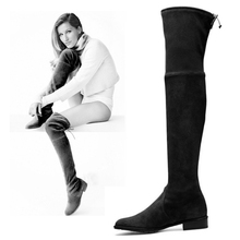 Women Sexy Black Stretch Over The Knee Boots Ladies Autumn Winter Suede Thigh High Boots Botas Mujer Slim Snow Boots Shoes Woman