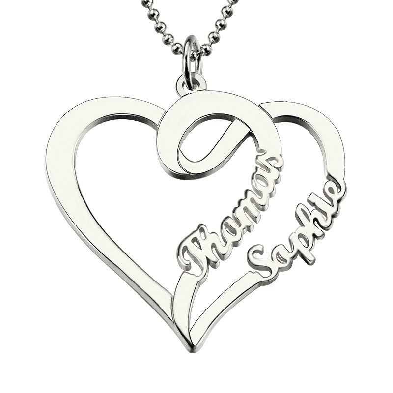 Women Fashion Double Heart Love Necklace With Two Names Sterling Silver 925 Two Custom Name Necklaces