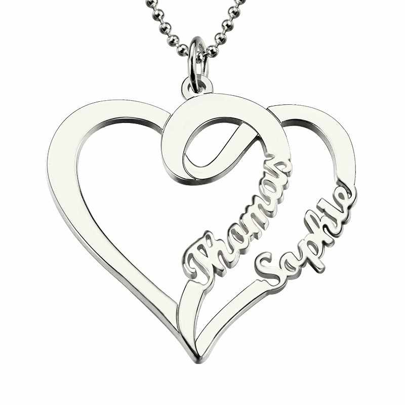 fa02855594 Women Fashion Double Heart Love Necklace With Two Names Sterling Silver 925 Two  Custom Name Necklaces