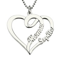Women Fashion Double Heart Love Necklace With Two Names Sterling Silver 925 Two Custom Name Necklaces for Lover Couple Gift