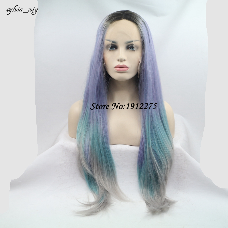 ФОТО Long hair dark root Lace Front Wigs Synthetic ombre purple blue to gray Straight Heat Resistant Fiber Wigs Middle Parting Wig