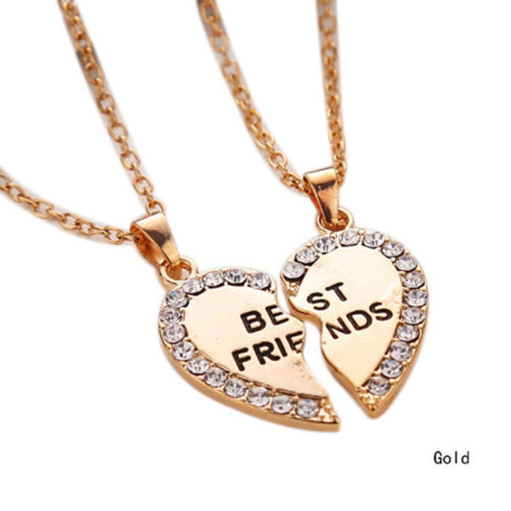 Bespmosp 2pcs punk charms heart broken pendant necklace gold silver bespmosp 2pcs punk charms heart broken pendant necklace gold silver plated best friend forever crystal bff women men friendship in pendant necklaces from aloadofball Choice Image