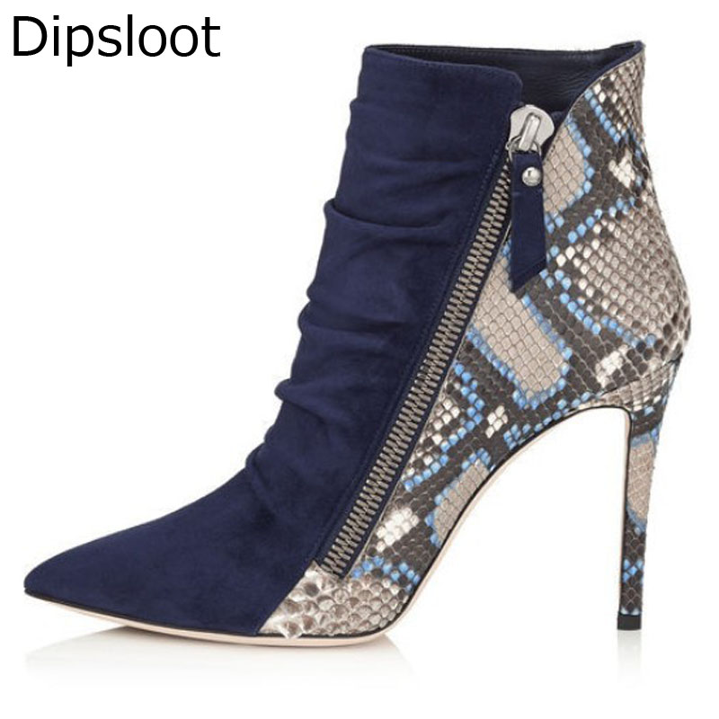 Sexy Python Leather Patched Pleated Suede Pointed Toe Ankle Boots Stiletto  Heels Boots Women Slant Zip Short Bottines-in Ankle Boots from Shoes on ... 5caa9d577432