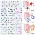 11 diseños 1 Nail Art Water Transfer Wraps DIY pegatinas de marca de agua tatuajes de corazones del oso de peluche del día de san valentín #BLE1313 - 1323