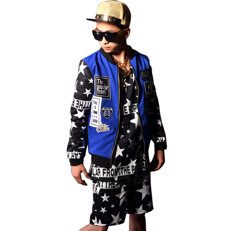 Noir blanc à cinq branches étoile mâle Baseball veste rue mode Hiphop hommes manteau chanteur DJ Star scène spectacle Costumes accessoires