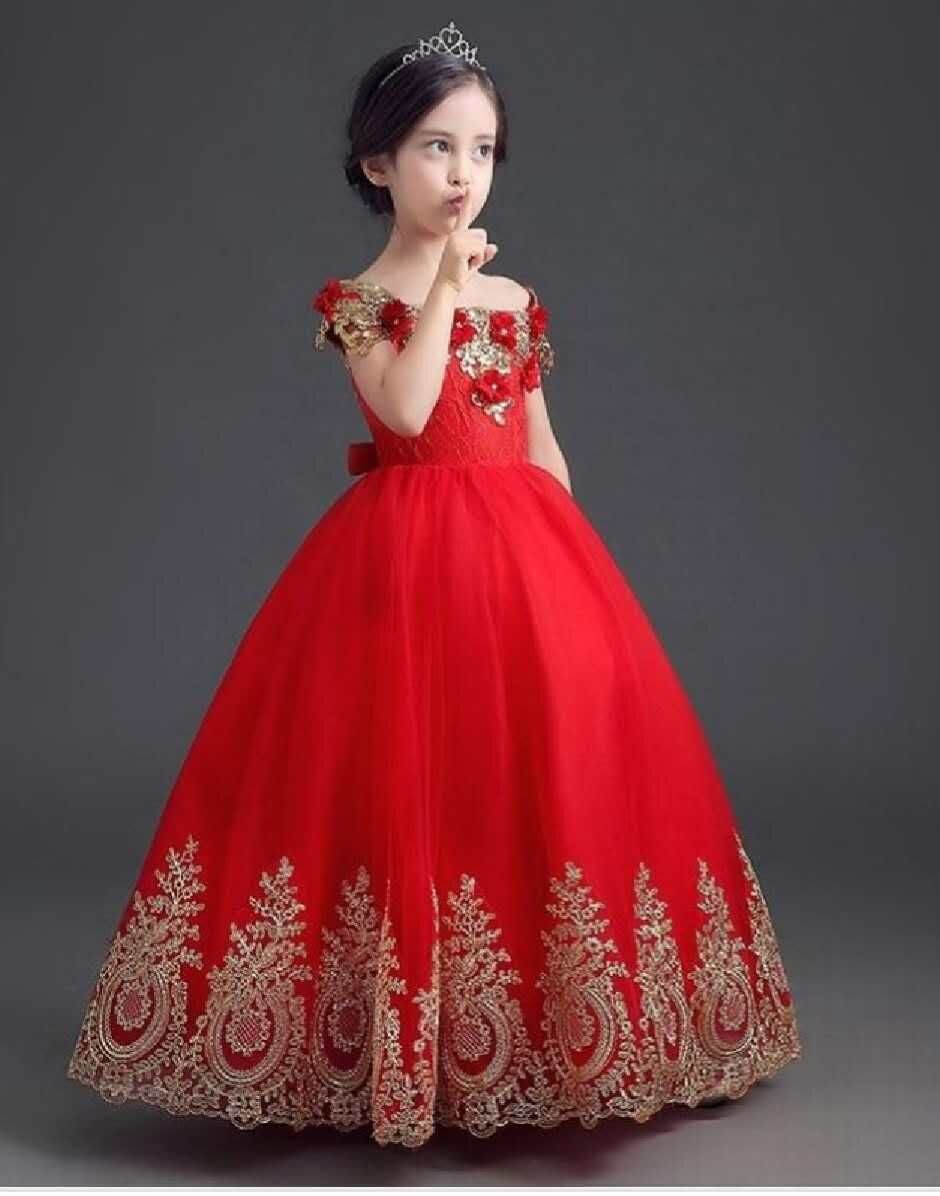 Red 2018   Flower     Girl     Dresses   For Weddings Ball Gown Cap Sleeves Tulle Appliques Lace First Communion   Dresses   For Little   Girls