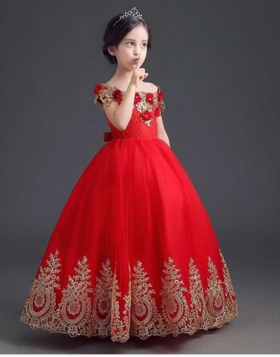 Rouge 2018 robes de demoiselle d'honneur pour les mariages robe de bal Cap manches Tulle Appliques dentelle première Communion robes pour les petites filles