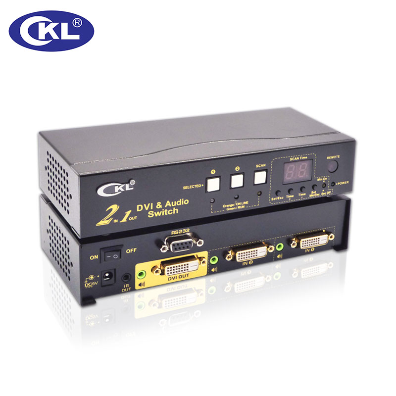 CKL-21D 2x1 2 Port DVI Switch Splitter Box 2in 1out. 3D 1080P For PC Monitor Wih IR Remote,RS232 Control