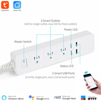 Smart Home Automation WiFi Power Strip Tuya Smart App Control 3 AC Outlets 2 USB Port US Standard Google Assistant Alexa Support