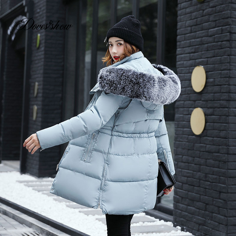 2017 New Thick Winter Jacket Women Padded Coat Fur Collar Hooded Mujer Overcoat Parka Wadded Casaco Feminino Female Jacket C10 women s clothing real fur collar winter jacket women 2015 new fashion thick winter coat female cotton padded jacket wadded coat