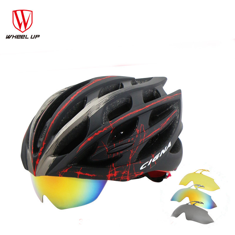 ФОТО WHEEL UP EPS PC  Goggles Eyewear Glasses Lenses Light MTB Road Mountain Cycling Helmet Bike Cap 32 Air Vents Bicycle Equipment