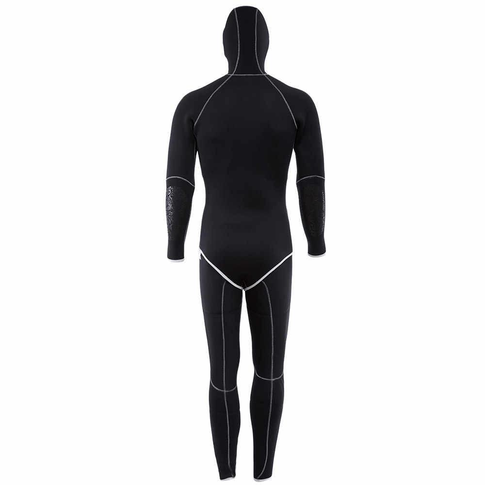 SLINX Мужской 5 мм Двухсекционный гидрокостюм Mergulho гидрокостюм с головным убором бесшовный толстый гидрокостюм для подводной охоты серфинг парусный гидрокостюм