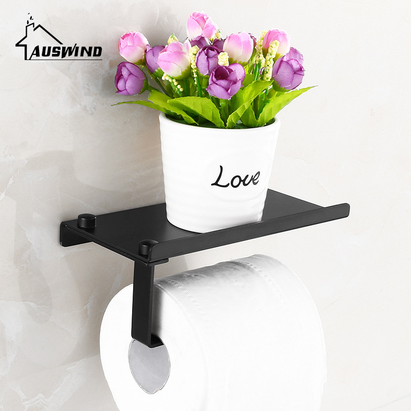 Wall Mounted Space Aluminum Bathroom Paper Holder With Phone Shelf Black Toilet Paper Holder Roll Paper Holder Tissue Boxes