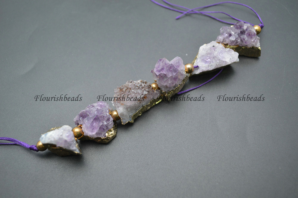 Natural Drusy Amethyst Freeform Nugget Rough Mineral Stone Loose Beads Jewelry