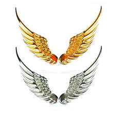 Dewtreetali 1 Pair Car Styling Fashion Metal Stickers 3D Wings Car Sticker Car Motorcycle Accessories Gold/silver Free Shipping