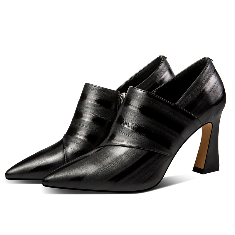 ISNOM Emboss Cow Leather Pumps Women Pointed Toe Footwear Fashion Zip Shoes Female High Heels Shoes Woman Spring 2019 New