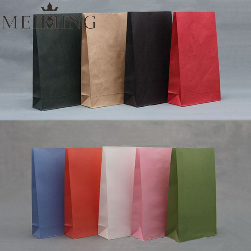 MEIDDING 10pcs Kraft Paper Gift Bags Wedding Candy Packaging Recyclable Jewelry Food Bread Shopping Colorful Party Bags